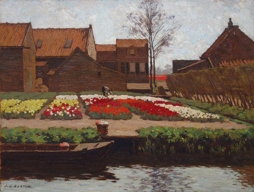 Bollenveld aan de Houtgracht bij Haarlem- A.L. ( Anton Lodewijk) Koster
