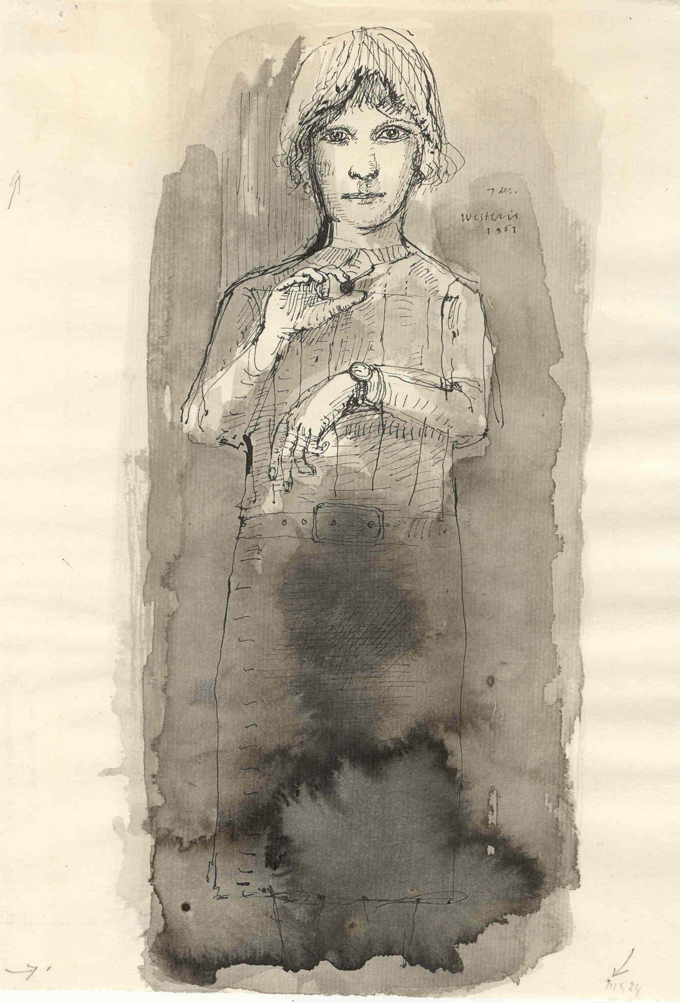 Meisje met kers en klok- Co Westerik